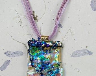 Chaos in Gold. Unique fused glass pendant. One of a kind.