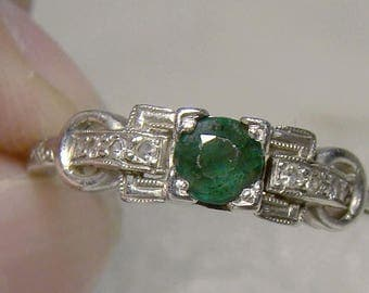 Edwardian Platinum Green Garnet Doublet Diamonds Ring 1910 - Size 6-1/2