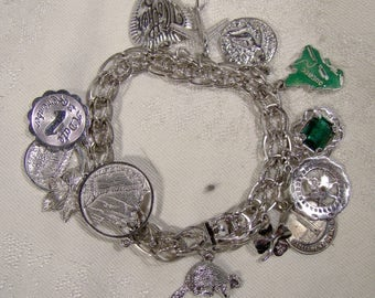 Forstner Sterling Silver Double Link Charm Bracelet with 13 Charms 1970s