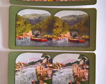 Lake Biwa Scene Kyoto Travel Antique Stereopticon Stereoscope Stereo Viewer Slide Card --- Vintage Japanese Culture Asia History Photograph