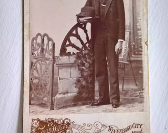 Tall Gentleman Antique Photograph Cabinet Card --- Victorian Edwardian Era Handsome Home Decor --- Vintage Cool Old Haunted House Halloween