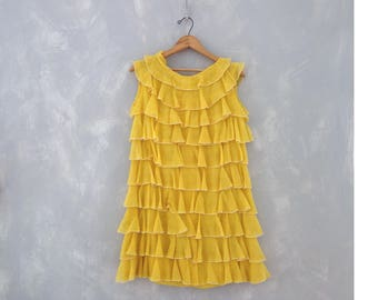 Beyonce Yellow Ruffle Dress  Sz M