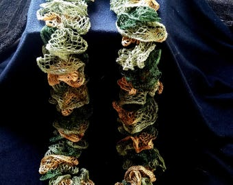 Green and Gold Spiral Scarf