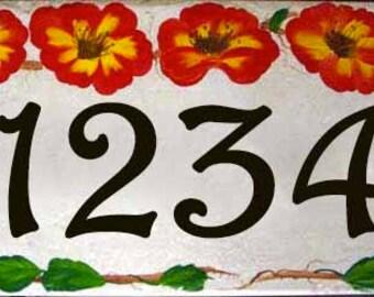 Floral house number plaque. Hand painted porcelain floral address sign. Outdoor address number, red flower house numbers, address tile