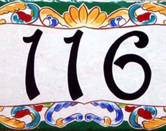 Hand painted address door sign, Italian porcelain house number plaque, Housewarming gift. Custom house plaque, Colorful unique house number