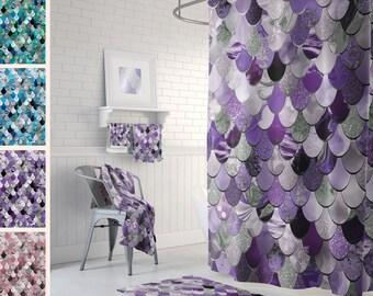 Purple Mermaid, Mermaid Scales, Mermaid Bath Decor, Mermaid Bathroom, Mermaid Shower, Mermaid Curtain, Teal Purple Pink