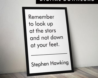 STEPHEN HAWKING QUOTE (Stephen Hawking Print, Downloadable Typographic Poster, Astronomy Print)