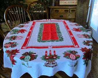 "Vintage Christmas Tablecloth 61""x51"""