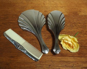 Mirror, Brush & Comb ~ Towle Silver Plate ~ Vintage Vanity Set ~ Hand Held Mirror ~ Art Deco Style ~ Beautiful gift for Women