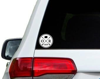 Oregon Arrow Year Car Window Decal Sticker