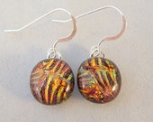Small Copper Orange Gold Dichroic Fused Glass Dangle Earrings, Fused Glass, Fused Glass Earrings, Glass Earrings, Dichroic Earrings, Dangle