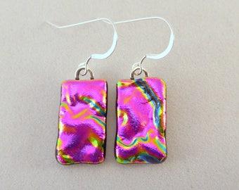 Pink Dichroic Fused Glass Earrings, Dangle, Fused Glass, Glass Earrings, Dichroic Earrings, Pink Earrings, Dichroic Glass Earrings, Pink