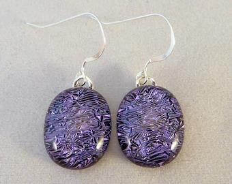 Purple Dichroic Fused Glass Dangle Earrings, Fused Glass, Fused Glass Earrings, Dichroic Earrings, Dangle Earrings, Dichroic, Purple