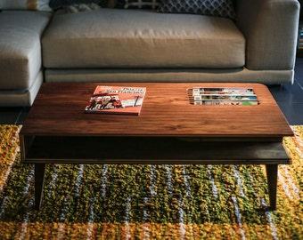 Mid Century Modern Coffee Table in Walnut Wood