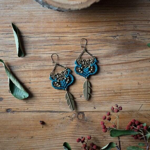 Autumn blue earrings
