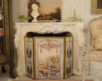 Fire screen, Charming life of romantic castle, Accessory for French dollhouse in 1:12th scale