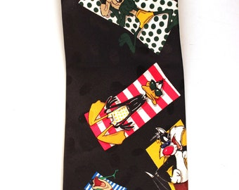 Looney Tunes at the Beach Vintage Tie/ cravat/  Television/ Cartoons/ Sylvester/ Bugs Bunny/ Daffy Duck/ Wile E Coyote/ Pepe LePew/ Taz/frog