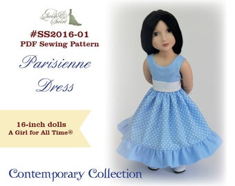 PDF Pattern #SS2016-01. Parisienne dress for A Girl for All Time dolls.