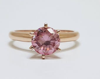1.07ct Round Pink Moissanite Diamond 14kt Rose Gold Ring Size 4