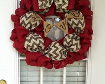 """Red Burlap """"LOVE"""" Wreath"""