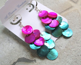Mussel Shell Earrings Waterfall Chandelier Earrings Women's Gift for Her Two Tone Fashion Earrings Retro Earrings Handmade Jewelry