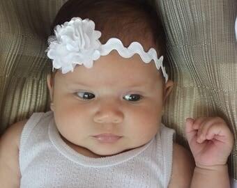 White Baby Headband, Baby Headband, Flower Headband, Newborn Headband, 20% Off, Baby White Headband, Baby Headpiece, Handmade Headband
