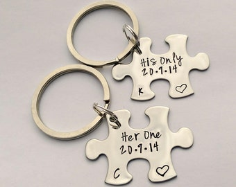 Personalised wedding gift - her one his only keyrings - 11th anniversary gift - his and hers keyrings - couples keychains - jigsaw keyrings