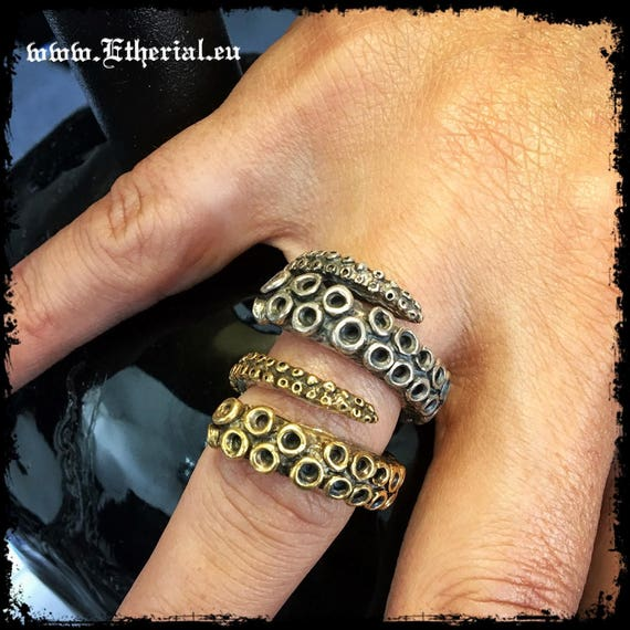Etherial Jewelry Rock Chic Talisman Luxury Biker Custom Handmade Artisan Pure Sterling Silver .925 Handcrafted Bespoke Octopus Tentacle Ring