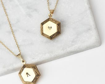 Personalised Locket Pendant • Hexagon Locket • Locket Necklace • Initial Locket • Gold Locket • Initial Necklace • Personalised Gift