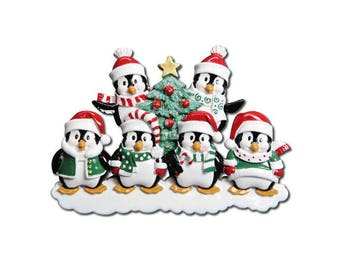 FREE SHIPPING 6 Happy Christmas Penguins Personalized Christmas Ornament / Family Christmas / 6 Penguin ornament / Hand Personalized Names