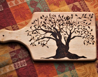 Woodburned tree bread/cheese board- woodburned tree, bread board, cheese board