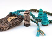 Little Raccoon Sprite and Trees Play Set - Painted Peg Person - Knitted Necklace Bag