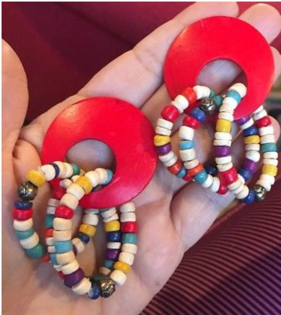 BEautiful Funky VIntage BOHO 80s 90s Red & Multicolored Rainbow Wood Beaded Earrings