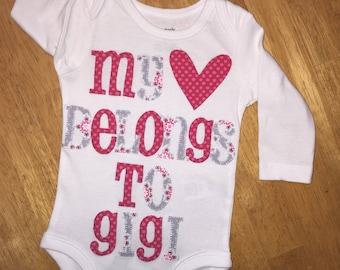 Girl's pink and gray tones personalized onesie
