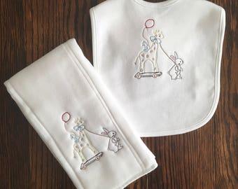 Baby Giraffe and Bunny Burp Cloth and Bib Set/ Baby Shower Gift