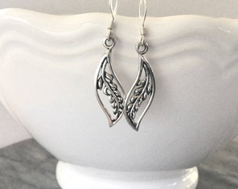 Leaf Earrings Sterling Silver Leaf Drop Earrings Long Silver Leaves Earrings Boho Earrings Nature Jewelry Long Dangles