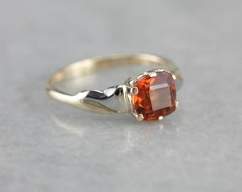 Upcycled Citrine Solitaire Ring, November Birthstone, Right Hand Ring MAN60JQM-N