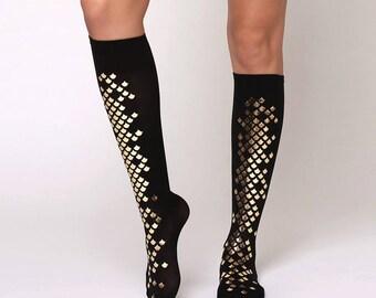 Black mermaid knee high tights with glossy gold scales/ semi-opaque mermaid scale knee stocking / knee socks