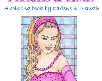Women: Places and Time, Portrait Coloring Page, Adult Coloring Page, Printable Wall Art, Gift for Women