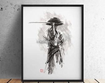 Samurai, Japanese Warrior Poster, Ronin Print, Watercolor Artwork, Samurai Wall Decor, Calligraphy Art