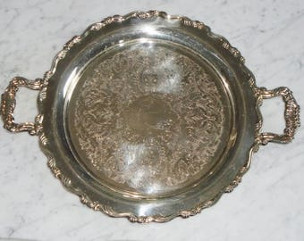 Large Heavy Oneida USA Silver Plate 15inch Round Serving Tray Platter w Handles