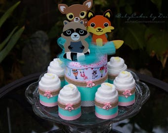 Woodland Friends Baby Shower - Diaper Cake Centerpiece - Baby Shower Centerpiece - Teal and Pink Baby Shower - Little Critters Baby Shower