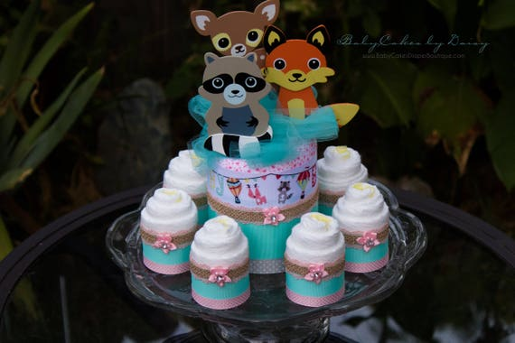 Woodland Friends | Diaper Cake Centerpiece | Baby Shower Centerpiece | Woodland Friends Theme | Little Critters Baby Shower