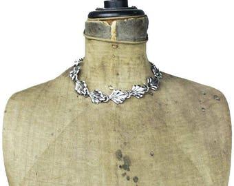Silver Leaf Necklace, Silver Link Necklace, Silver Collar Necklace, Silver Choker Necklace