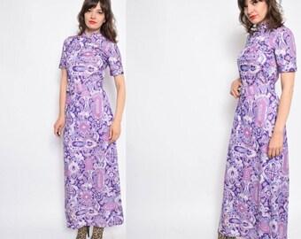 Vintage 70's Lilac Purple Print Maxi Dress - Size Medium