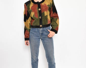Vintage 80's Patchwork Suede Button Jacket / Color Block Suede Cropped Jacket - SIze Large