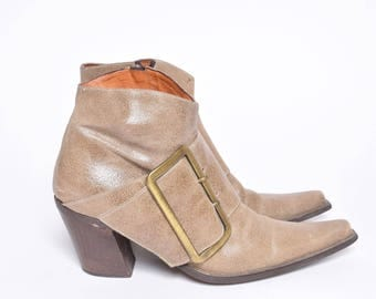 Vintage Tan Brown Leather Boots with Buckle and Side Zipper