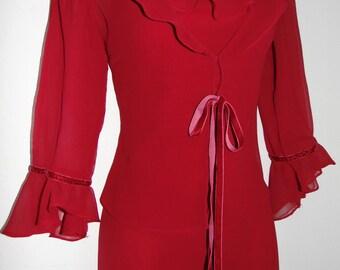 Laura Ashley Red Georgette Silk Flamenco Style Long Dress & Matching Bolero, Size 8UK