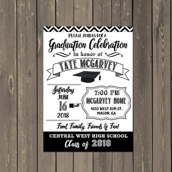 Graduation party invitation black and white graduation announcement il570xn filmwisefo Choice Image