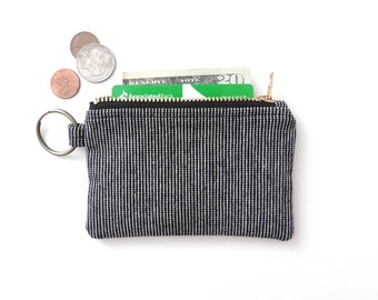 Keychain Wallet Coin Purse Zipper Pouch Black Stripe